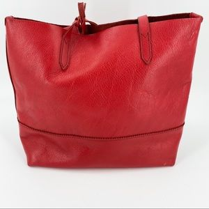 J. Crew large leather red tote